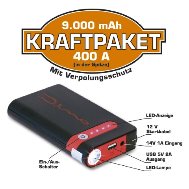 dino kraftpaket 12v starthilfe mit powerbank 9000mah 400a. Black Bedroom Furniture Sets. Home Design Ideas